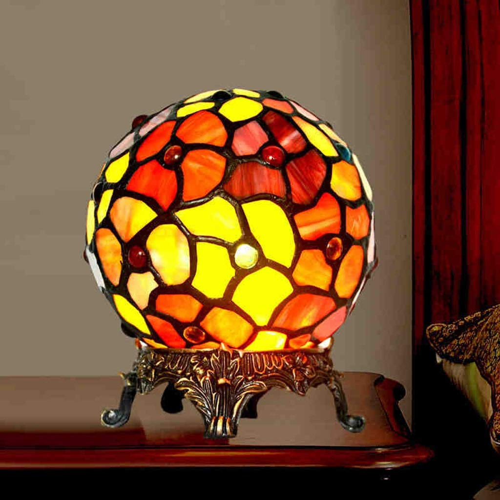 RXY-LAMP Tiffany Traditional Handmade Soldering Art Art Spherical Nordic Style Decorative Lighting (Size : 15x17cm)