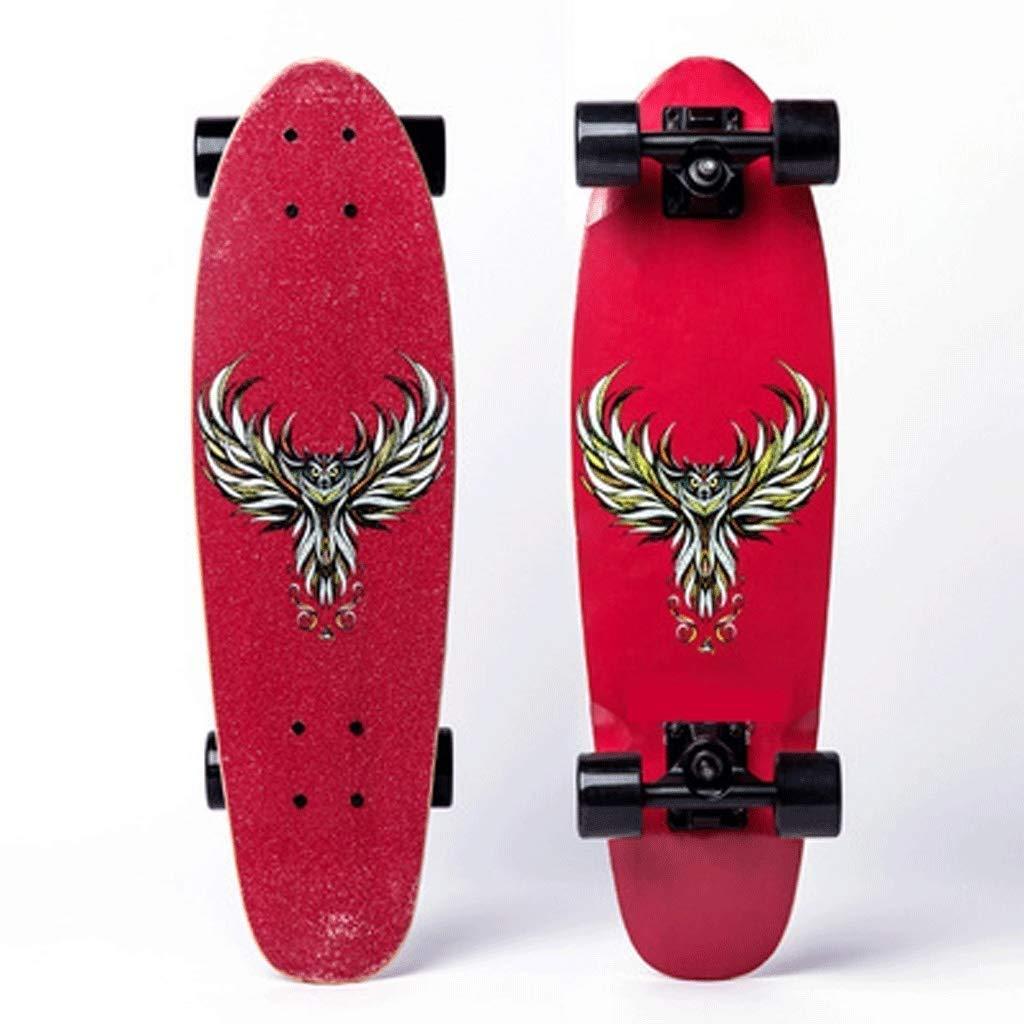 スケートボード 肥厚フィッシュプレートスケートボードボーイガールユース初心者プロスケートボード (Color : 赤) 赤