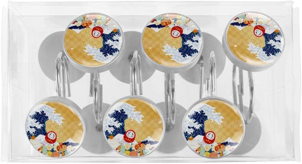 Acero Inoxidable HEOEH Juego de 12 Ganchos para Cortina de Ducha con dise/ño de s/ímbolo de Cultura Japonesa Incluye Gancho Cromado Libre de /óxido 3.7x3.7cm Multi 01