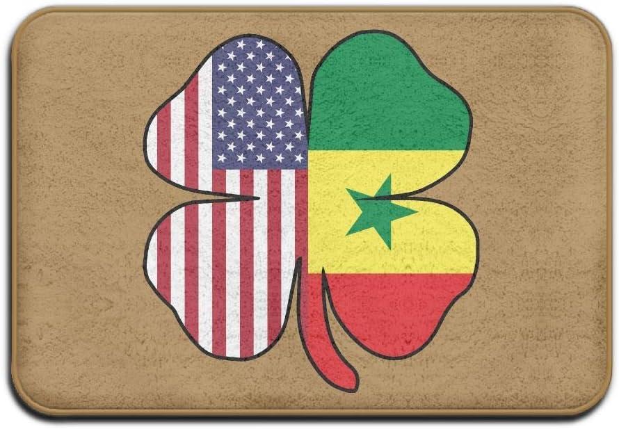 Rexing Felpudo Antideslizante,Absorbente Alfombras De Piso,Alfombrilla De Baño Antideslizante De La Bandera De Senegal De La Bandera Americana De Senegal