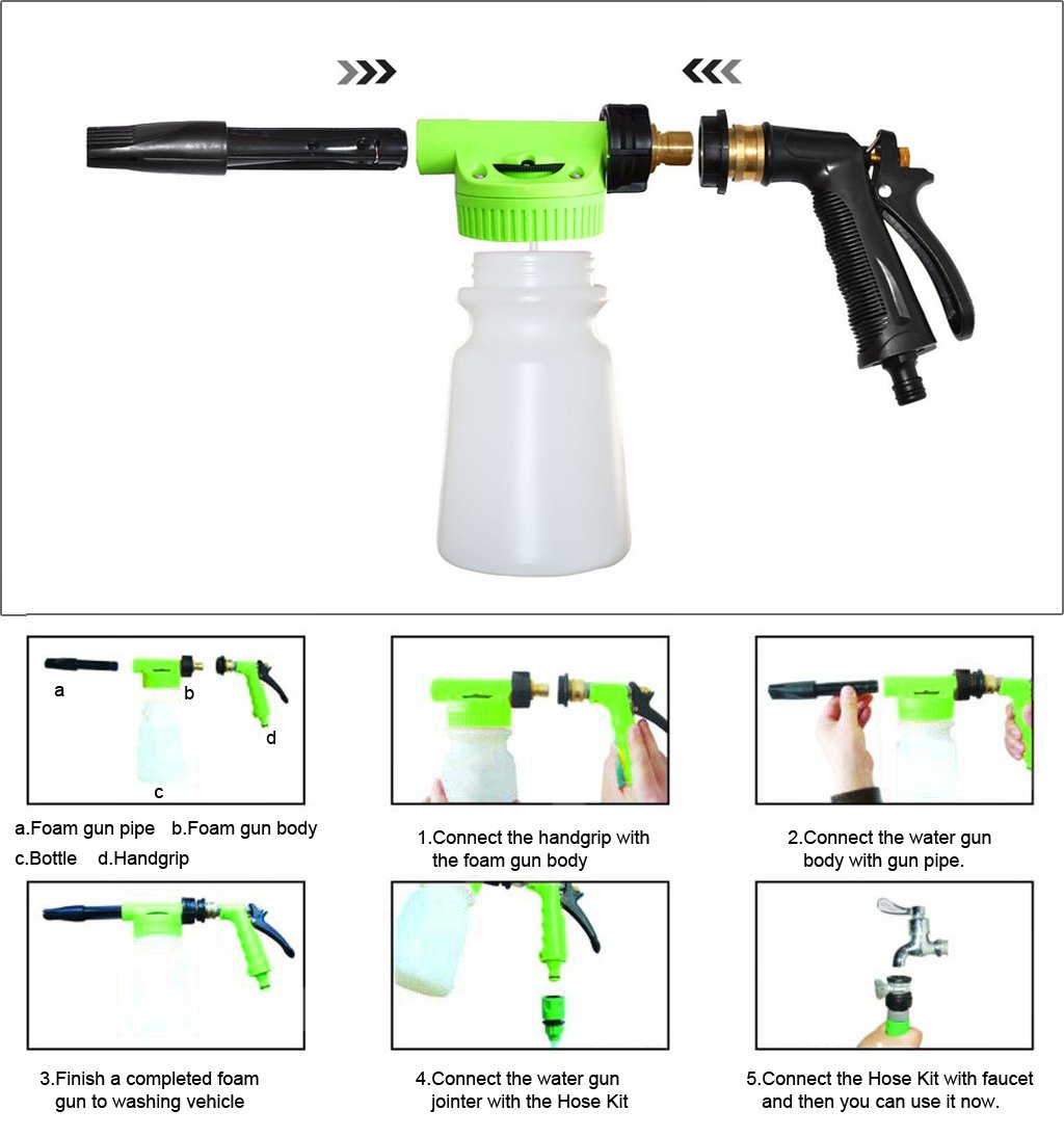 Amazon com crusar car washing foamaster gun and multifunctional portable water foam water soap and shampoo sprayer for car van motorcycle vehicle green