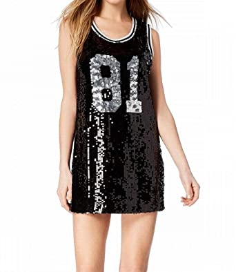 816a6d1fb67 GUESS Womens Sequined Party Mini Dress Black S at Amazon Women s Clothing  store