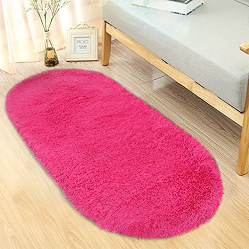 Noahas Ultra Soft 4.5cm Velvet Bedroom Rugs Kids Room Carpet Modern Shaggy Area Rugs Home Decor 2.6' X 5.3' (Hot pink) (Little Children Rug)