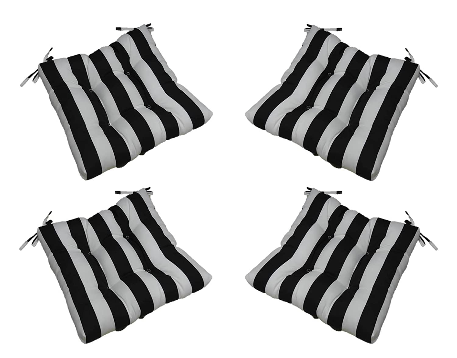 """Resort Spa Home Decor Set of 4 - Indoor/Outdoor Black and White Stripe Universal Tufted Seat Cushions with Ties for Dining Patio Chairs - Choose Size (16"""" x 16"""")"""