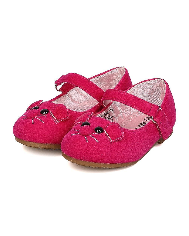 Toddler Girl FA02 Fuchsia Faux Suede Mouse Face Ballerina Flat