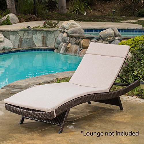 (GDF Studio 654 Salem Outdoor Textured Beige Water Resistant Chaise Lounge Cushion)