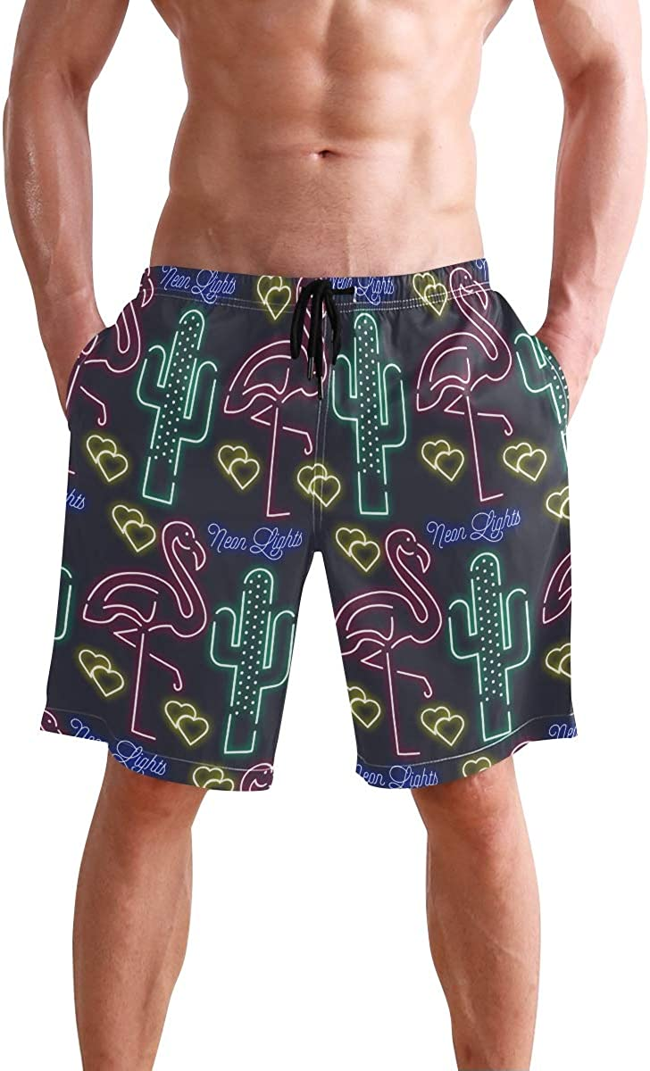 Men/'s Tu Neon Sign Flamingo Print Recycled Shortie Swim Shorts Size m