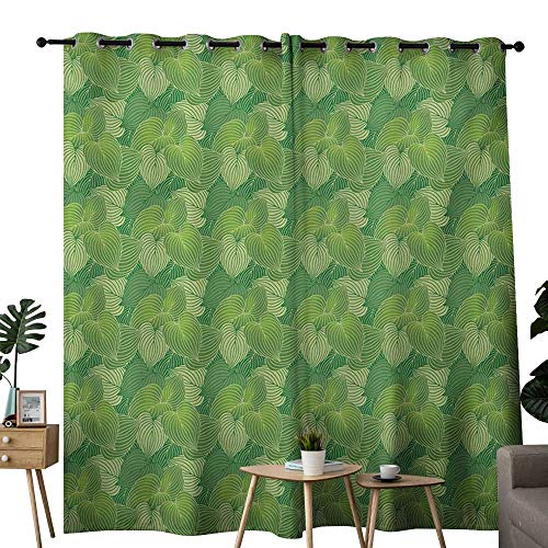 NUOMANAN Bedroom Curtains Green,Abstract Hosta Plants Lush Forest Growth Leaves Ecology Jungle Theme,Fern Lime and Pale Green,Thermal Insulated Room Darkening Window Shade -