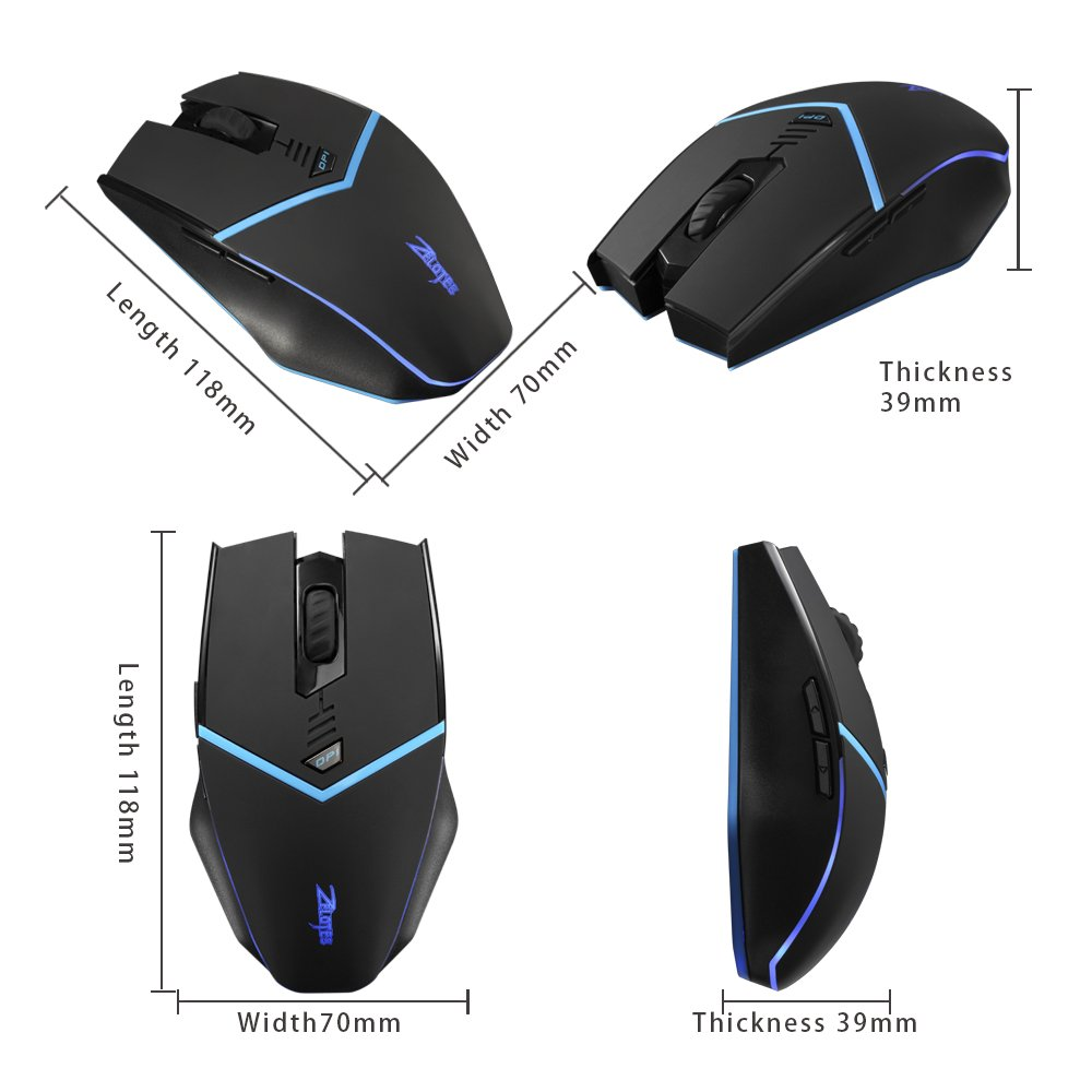 Zelotes F12 Wireless Mouse with Nano Receiver,2400DPI 2.4G Portable Mobile Ergonomic Gaming Mouse Mice for Gamer PC, Laptop, Notebook, Computer,Macbook,Black by Zelotes (Image #6)