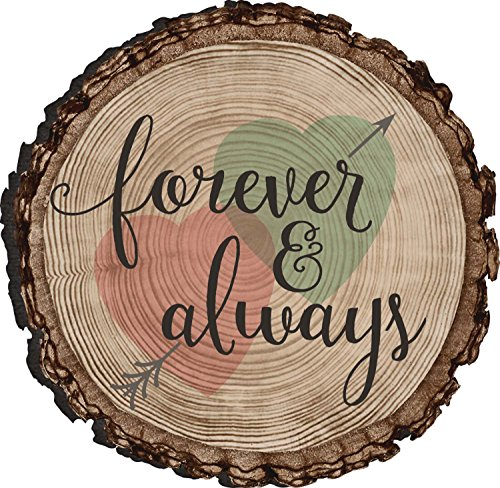 Forever And Always Hearts And Arrow Rustic Bark Look Wood Circle Magnet