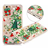Thunder Light Shockproof Christmas Glitter Quicksand Liquid Hard Case Cover For iPhone Samsung S8 (Christmas tree gift box pattern) (iphone 7 plus/8plus)