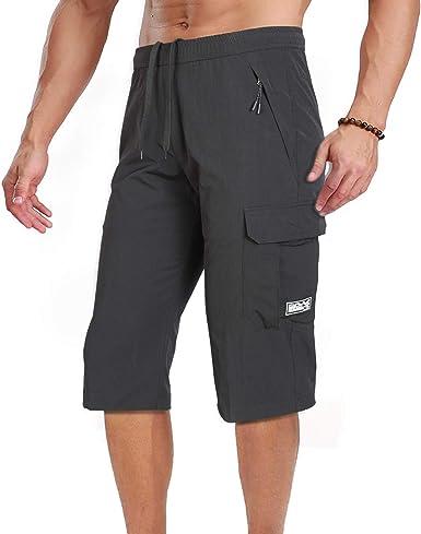 Quick Dry Capri Shorts Men Hiking Summer Shorts 3//4 Pants Outdoor Running Shorts