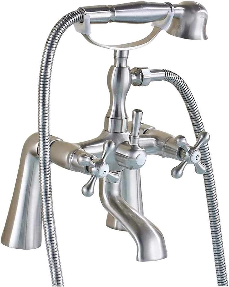 Rozin Two Holes Deck Mounted Bathtub Faucet 2 Knobs Mixing Tap with Handheld Shower Brushed Nickel