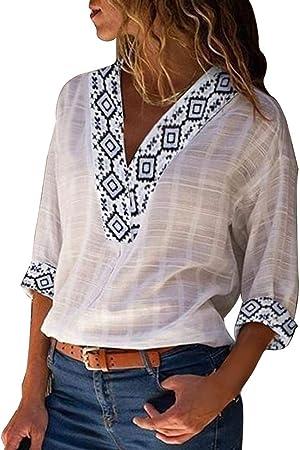 Blusa de lino liso con mangas con puños y cuello en V para ...