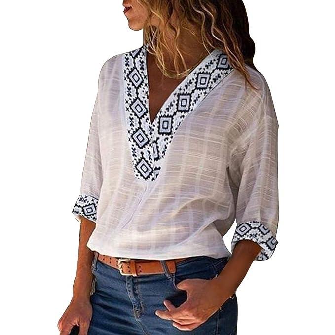 Camisa Mujer, Blusas Lino Shirt Cuello en v Tops Imprimiendo ...
