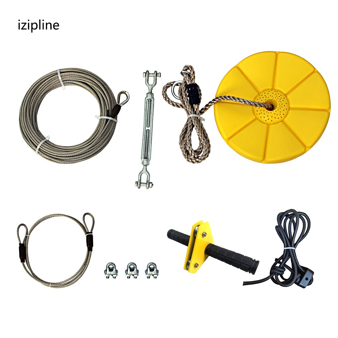 iZipline 95 Feet Zip line Kit with Seat and Bungee Brake,Speed Trolley Pulley with Grip Handle Bar,Zipline kit for Kids and Adults Backyard Playground Adventures Diamond Yellow by iZipline
