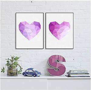 dayanzai Geometric Heart Shape Diamond Love Canvas Art Print Painting Poster, Purple Heart Shaped Print Love Wall Pictures Art Decor 40X50Cmx2Pcs No Frame