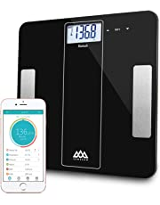 SENSSUN Bluetooth Smart Body Fat Scale, Digital Bathroom Scale, BMI Weighing Scales Body, Body Composition Analyzer with iOS and Android APP-Black