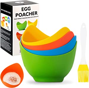 CZWESTC Silicone Poached Egg Cups, Non Stick Eggs Poaching Cooker Egg Poachers, Food Grade Silicone Poached Pods for Microwave Stove Top, Egg Boiler Mold Bowl for Kitchen Cooking Cookware Baking Tools