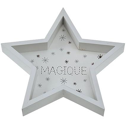 Incidencia Paris 63183 bandeja Mini Estrella Mágica, madera, blanco, 24 x 24 x
