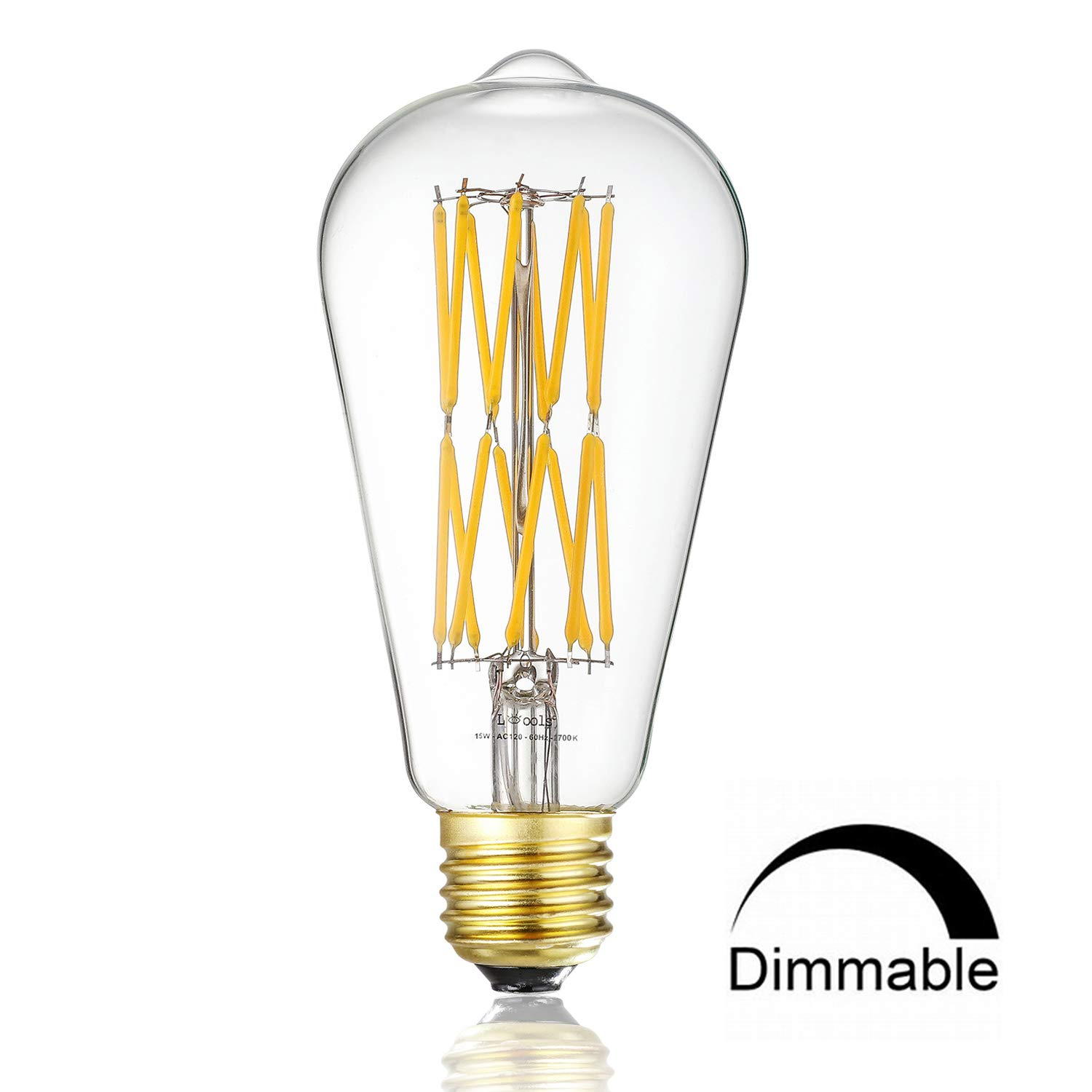 Leools LED Edison Bulb 15W Dimmable 2700K Warm White 1200LM, 120W Equivalent E26 Medium Base, ST64 Vintage LED Filament Bulbs, 360 Degrees Beam Angle, Pack of 1