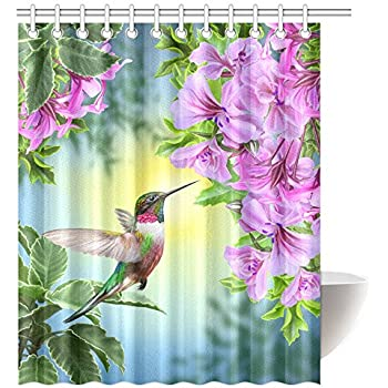 Beautiful InterestPrint Hummingbirds Shower Curtain, Art With Colibri Bird And Tree  Branch Fuchsia Flower Romantic Springtime
