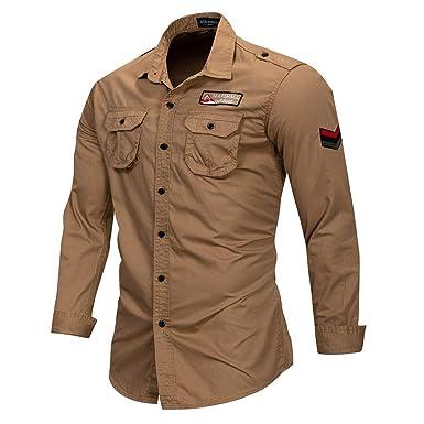 718d0a3896 100% Camisa Militar de Algodón Hombres Camisa de Manga Larga Transpirable  Casual Camisa de Hombre Sólido con Bordado 115 Khaki Europe Size 3XL   Amazon.es  ...