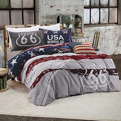 BuLuTu The USA Memorial Day Theme Reversible Premium Cotton Twin Bedding Collections 3 Piece Stars and Stripes Bedding Duvet Cover Sets With 4 Corner Ties Blue Red Grey - Flag Comforter Set