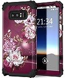 Galaxy Note 8 手机壳,Hocase 防震重型混合硅胶橡胶保险杠+硬壳全身保护手机套带可爱的牡丹花纹印花适用于三星 Galaxy Note 8(2017) Note8-ST-F08 Royal Purple/White Flowers