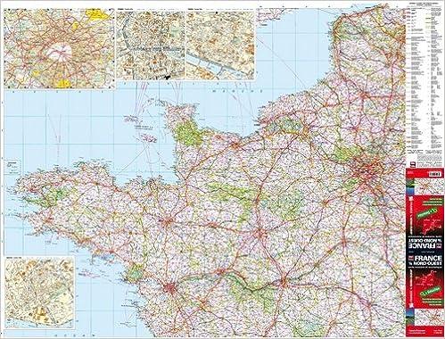 carte nord ouest france Amazon.fr   France 1/4 Nord Ouest   Carte murale plastifiée   Blay