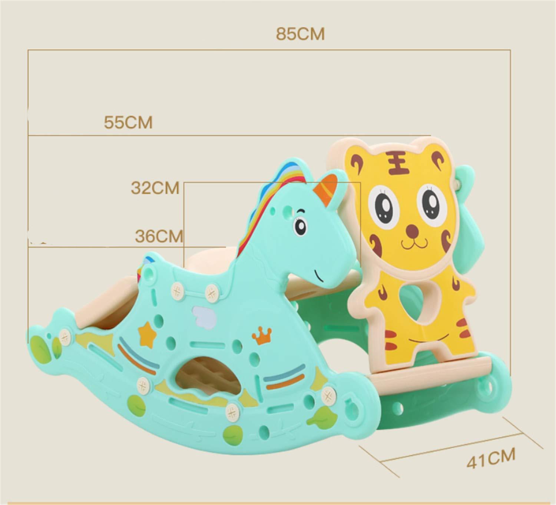 赤ちゃんプラスチックロッキングホース玩具、子供屋外ロッカー動物ライド子供ロッキングおもちゃ子供1-3歳スライダーバスケットボール取り外し可能  Pink B07TJY2Y1L