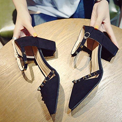 SHOESHAOGE Sandalias Señalaron La Hembra High-Heel Zapatos En Negrita Con Lazo De Satén Ranurada Solo Zapatos Zapatos De Mujer ,Eu35 EU34