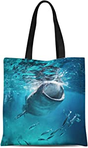 Semtomn Canvas Tote Bag Blue Cebu Whale Shark Eating at the Fish Giant Durable Reusable Shopping Shoulder Grocery Bag