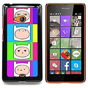 "Qstar Arte & diseño plástico duro Fundas Cover Cubre Hard Case Cover para Nokia Lumia 540 (Cómic de dibujos animados sonriente de la cara de neón colorido"")"
