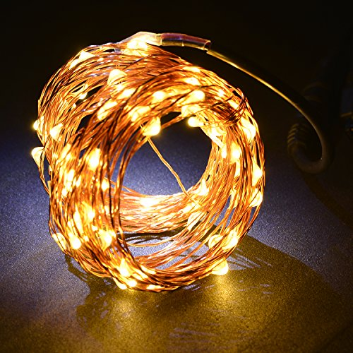 Fairy Lights 33ft Copper Wire Lights, 100 LEDs Starry Chain Lights, 10m Warm White Copper LED Strings, Dimmable Starry LED Lights, Decor Rope Lights with Puff