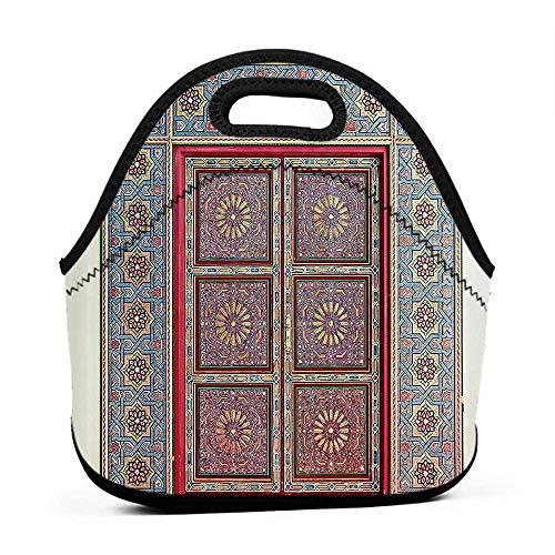 for Womens Mens Boys Girls Moroccan Decor Collection,A Magnificent Moroccan Traditional Ancient Door Gate Brass Historic Handicraft Image,Blue Coral,red lunch bag for kids