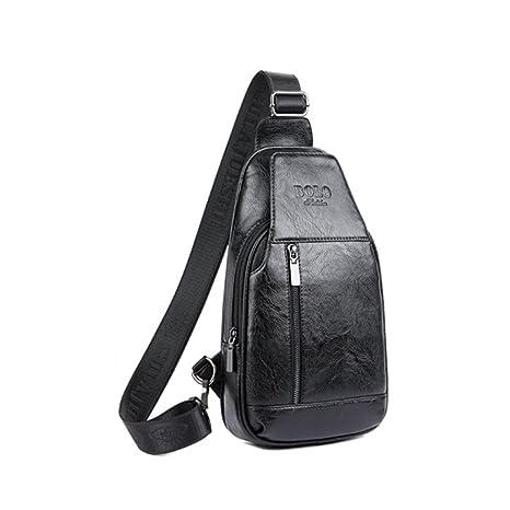 ec5106fb03 YFbear Borsa Monospalla Pacco Petto Vera Pelle Sling Bag Daypacks Uomo  Borsa Retro Ipad 8'