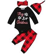 Newborn Baby Boys Girls My First Christmas Bodysuit and Plaid Pants Leggings Headband Hat 4pcs Christmas Outfits Set (Black 1, 70 (0-6 Months))