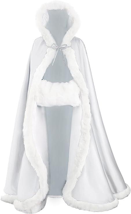 BEAUTELICATE Capa con Capucha Mujer Invierno Pelo Largo Poncho para Vestido de Novia Boda Fiesta Navidad Halloween