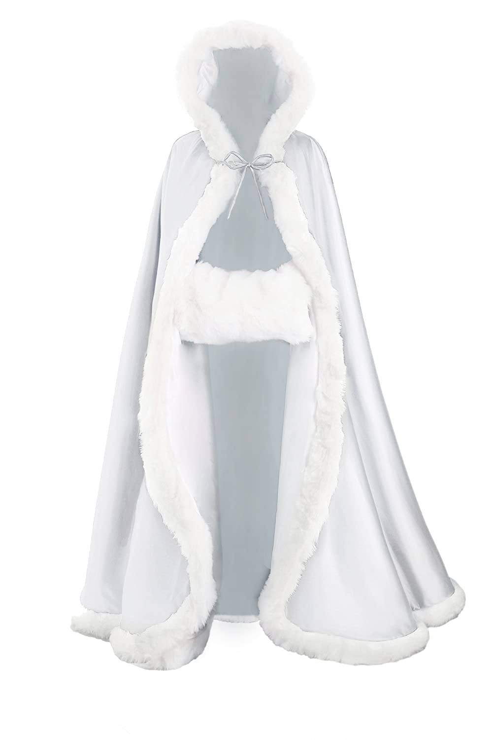 Hooded Cloak Bridal Cape With Fur Trim Full Length More Colors Free Hand muff