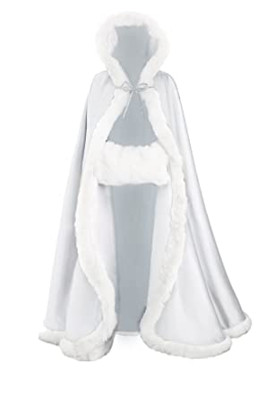 Women's Ivory Faux Fur Winter Long Wedding Cloak Coat Jacket Bridal Wraps Cape and hand muff