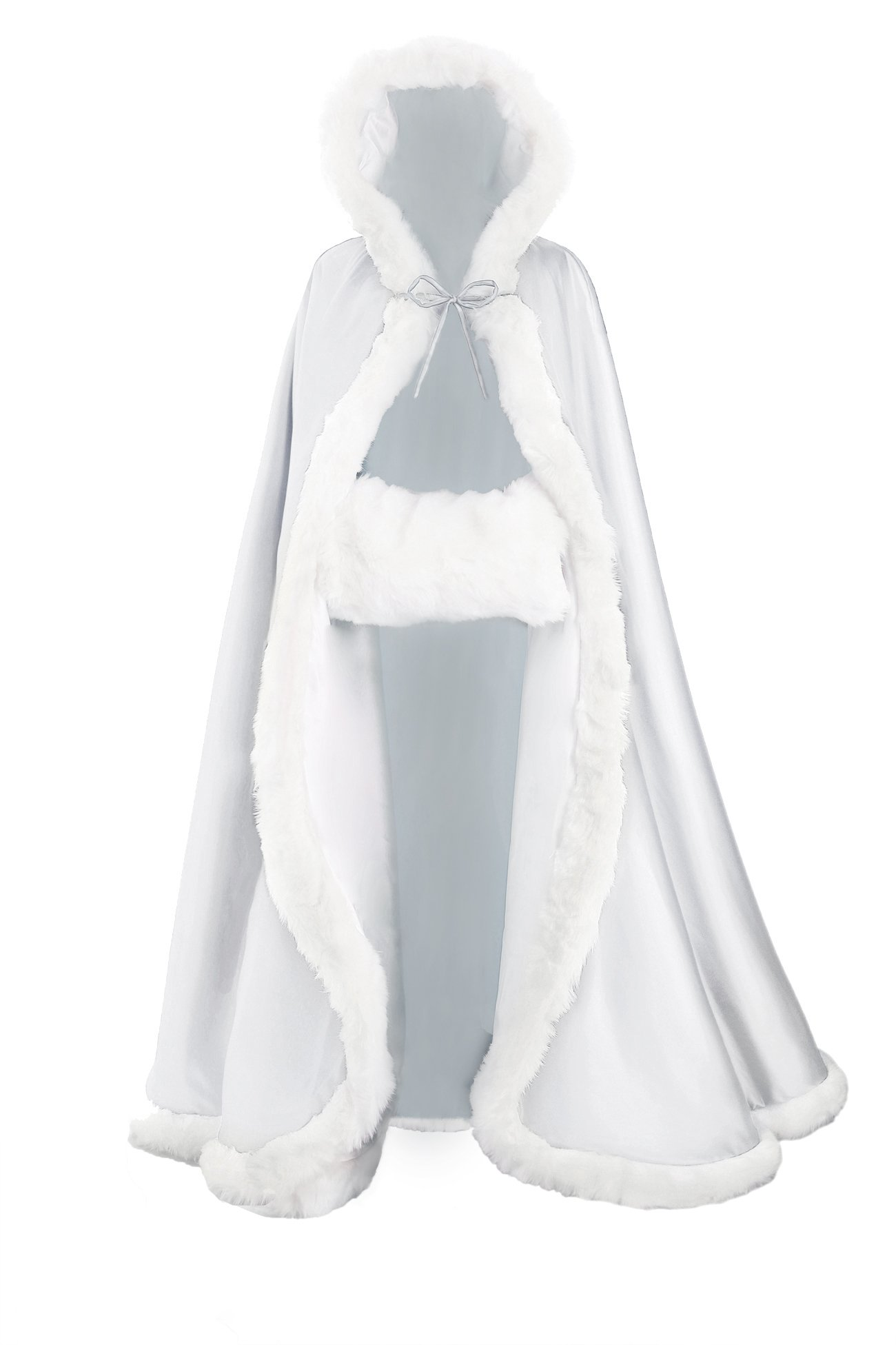Wedding Cape Hooded Cloak for Bride Winter Reversible with Fur Trim Free Hand Muff Full Length 55 inches White