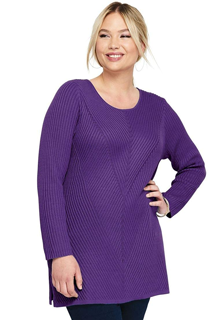 171e0da1b Jessica London Womens Plus Size Ribbed Pullover Tunic Sweater