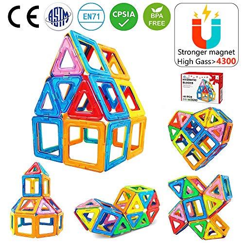 Jasonwell 42 PCS Magnetic Tiles Building Blocks Boys Girls Magnetic Building Set Preschool Educational Construction Kit Magnet Stacking Toys Kids Toddlers Children ()