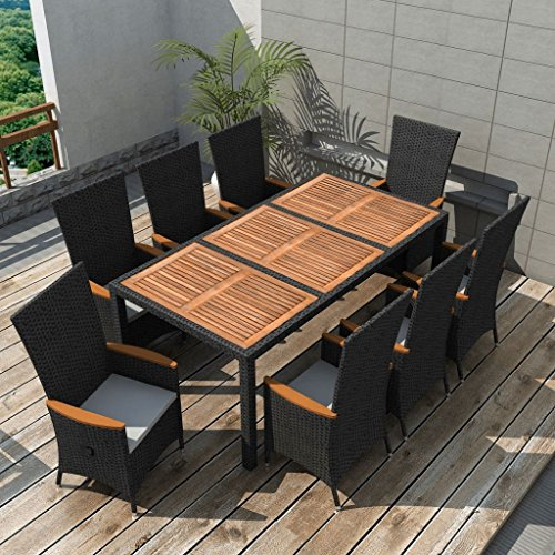 Festnight 9 Piece Outdoor Garden Dining Set Poly Rattan Table Chairs Black Acacia Wood