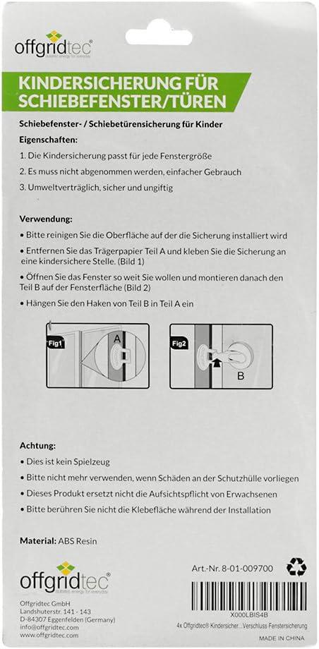 Offgridtec 009700/kindersi cherug para puertas correderas Ranura para cierre, 4/unidades color blanco