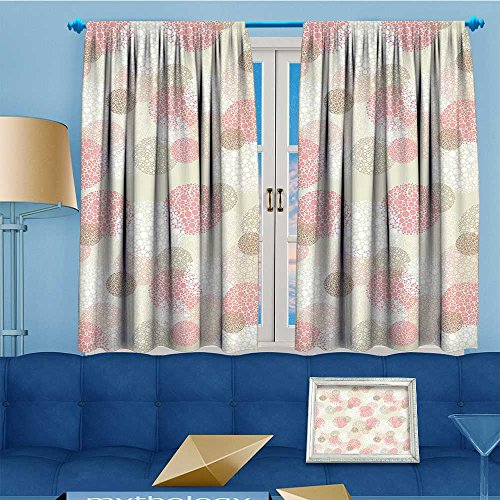 Mikihome Flower Design Foil Printed Grommet Thermal Insulated Window Panels Circle Shapes Polka Dots Romantic Feminine Short Kidsroom, 63