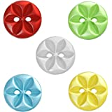 Souarts Mixed Flower Round 2 Holes Resin Buttons for Sewing Crafting 14mm Pack of 100