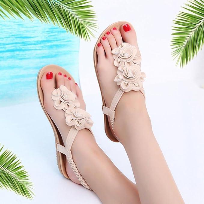 Sandalias mujer verano 2018 ❤ Amlaiworld Sandalias romanas de mujer de plataforma verano de flores zapatos cuñas señoras de playa flip flop zapatillas ...