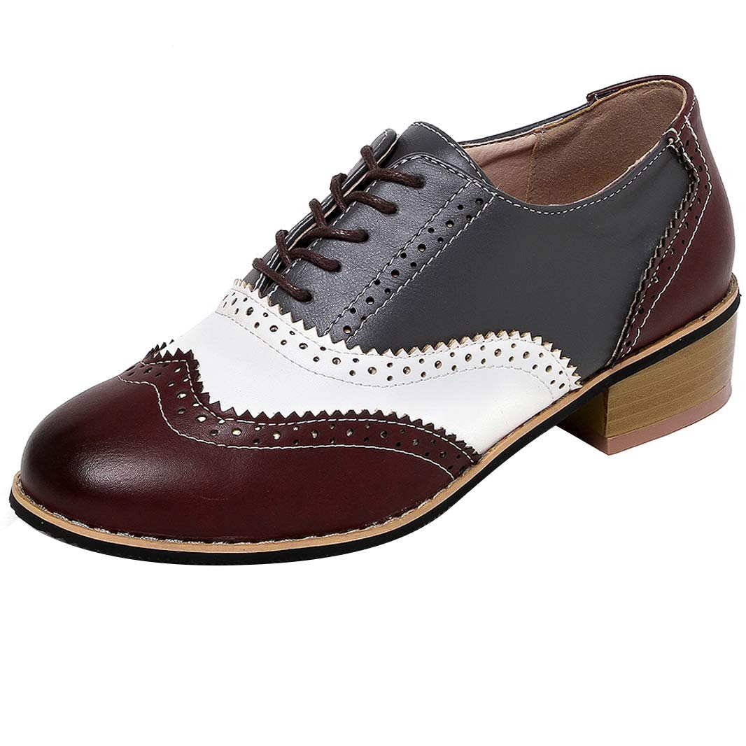 Cicime Oxford Shoes for Women Perforated Lace-up Wingtip Flat Oxfords Brown Oxford Shoes Brogues Black